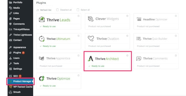 Thrive Product Manager dashboard