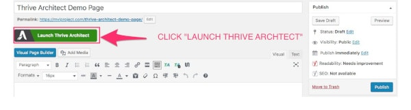 click launch thrive architect