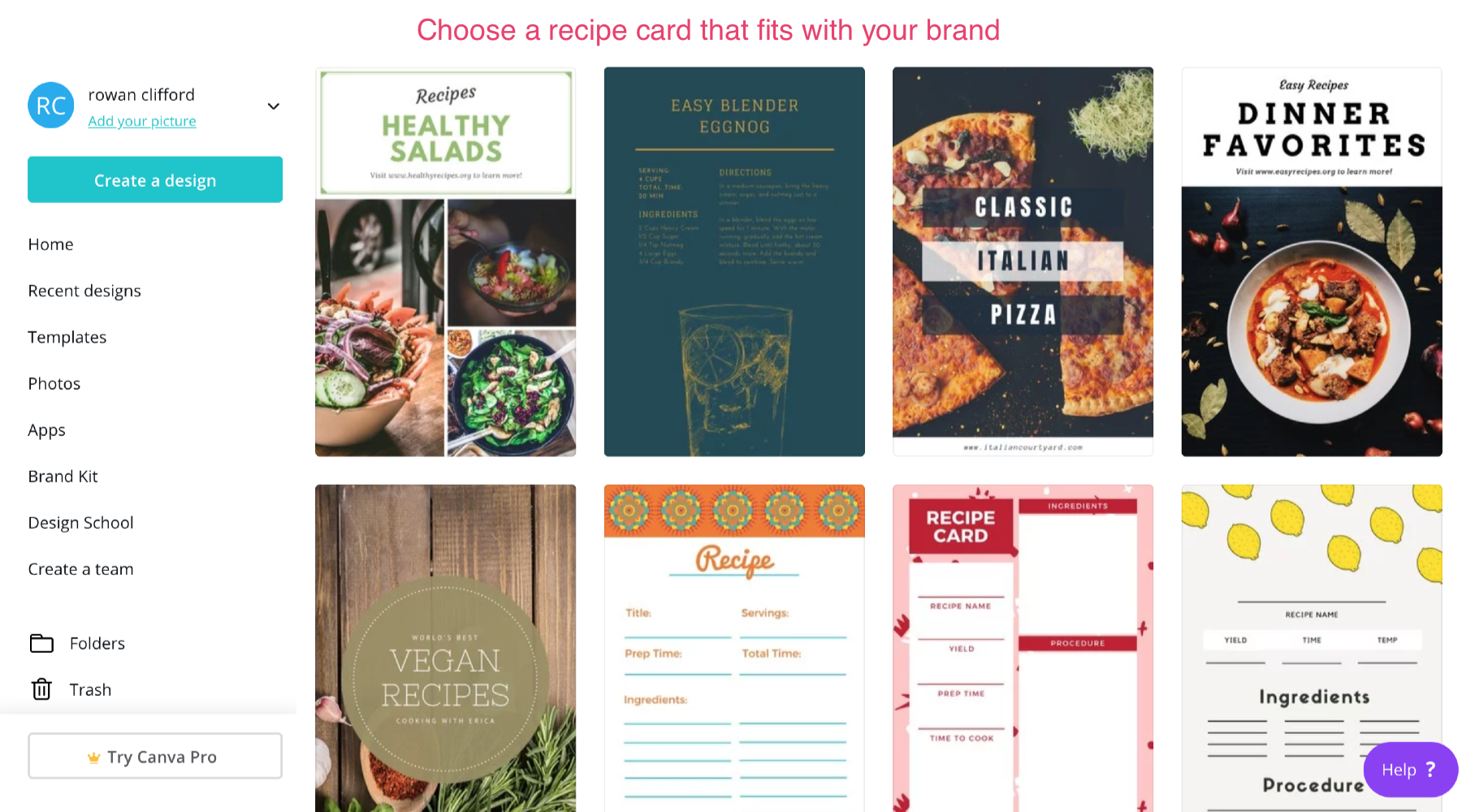 choose a recipe card that fits your brand