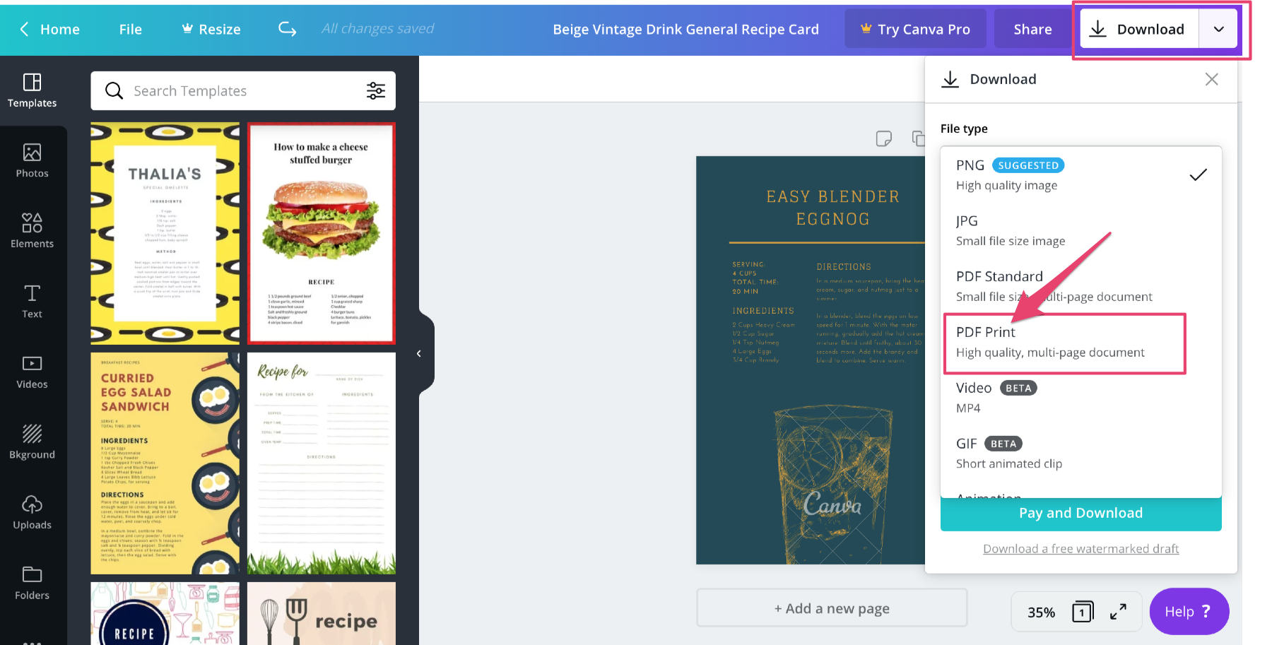 download recipe card canva