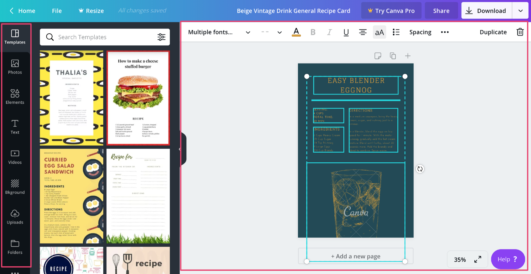 edit recipe card on canva