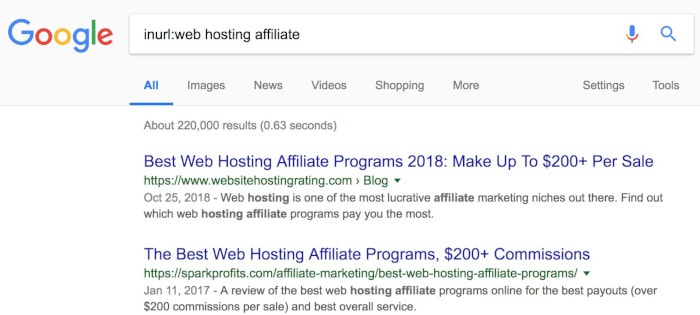 searching google for affiliate programs